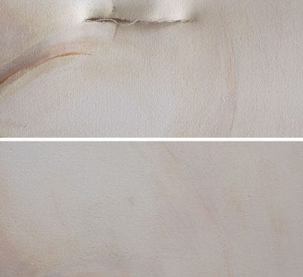 Conservation and restoration of accidental damage to a contemporary work dated1995.