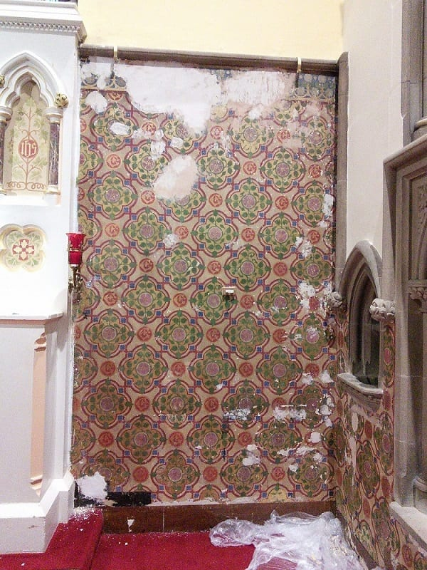 St Elizabeth's Church (Minsteracres, Northumberland), Chancel – conservation and restoration of Victorian stencil scheme.