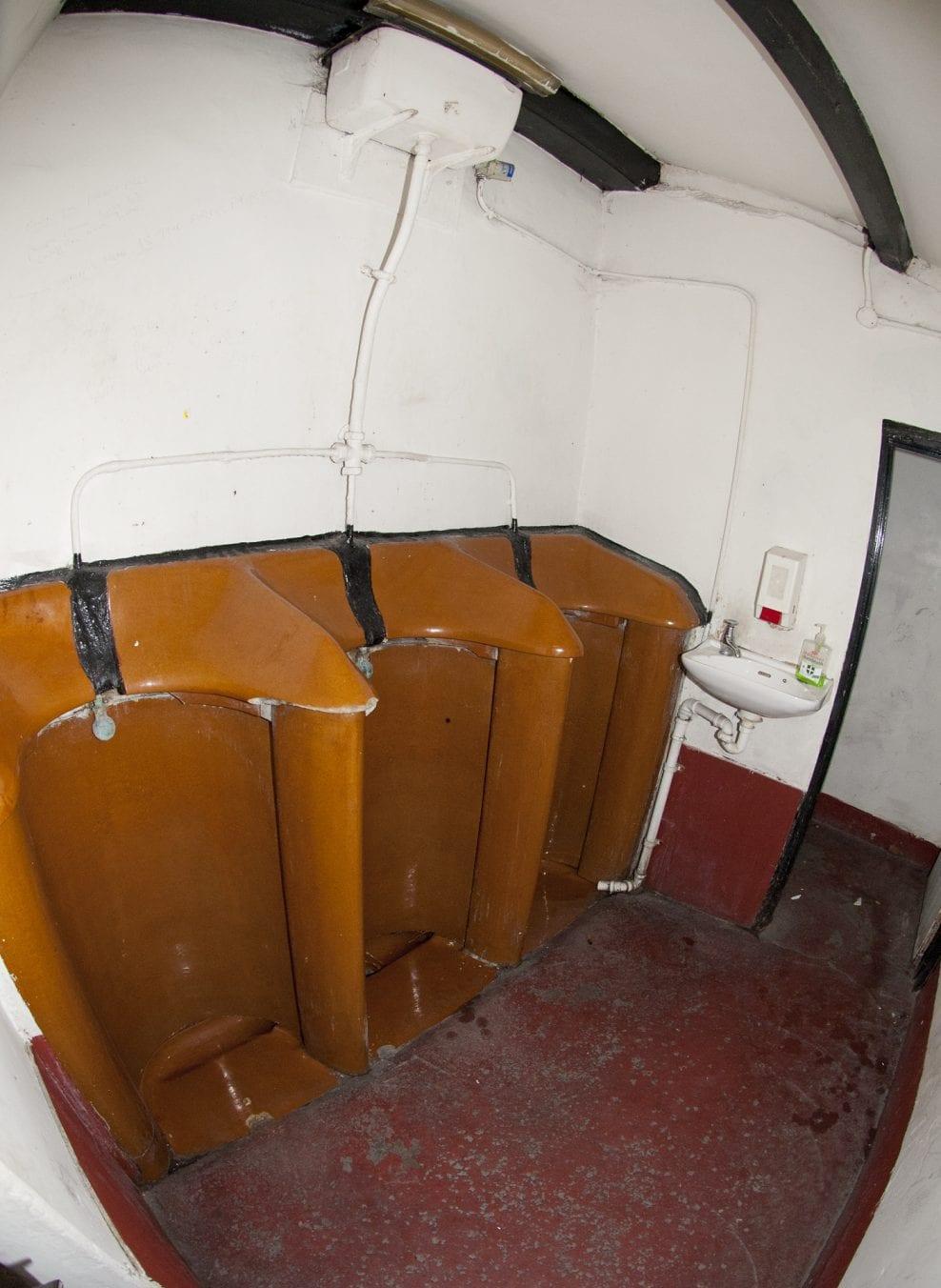 The urinals in situ