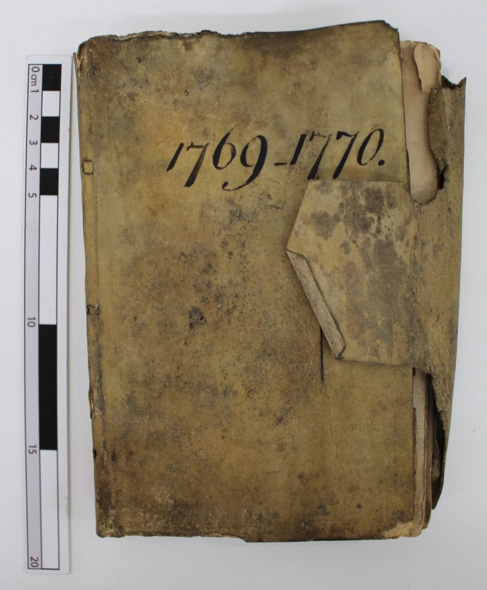 Conservation of a Mould-Damaged Eighteenth-Century Wine Account Book in a Parchment Stationery Binding