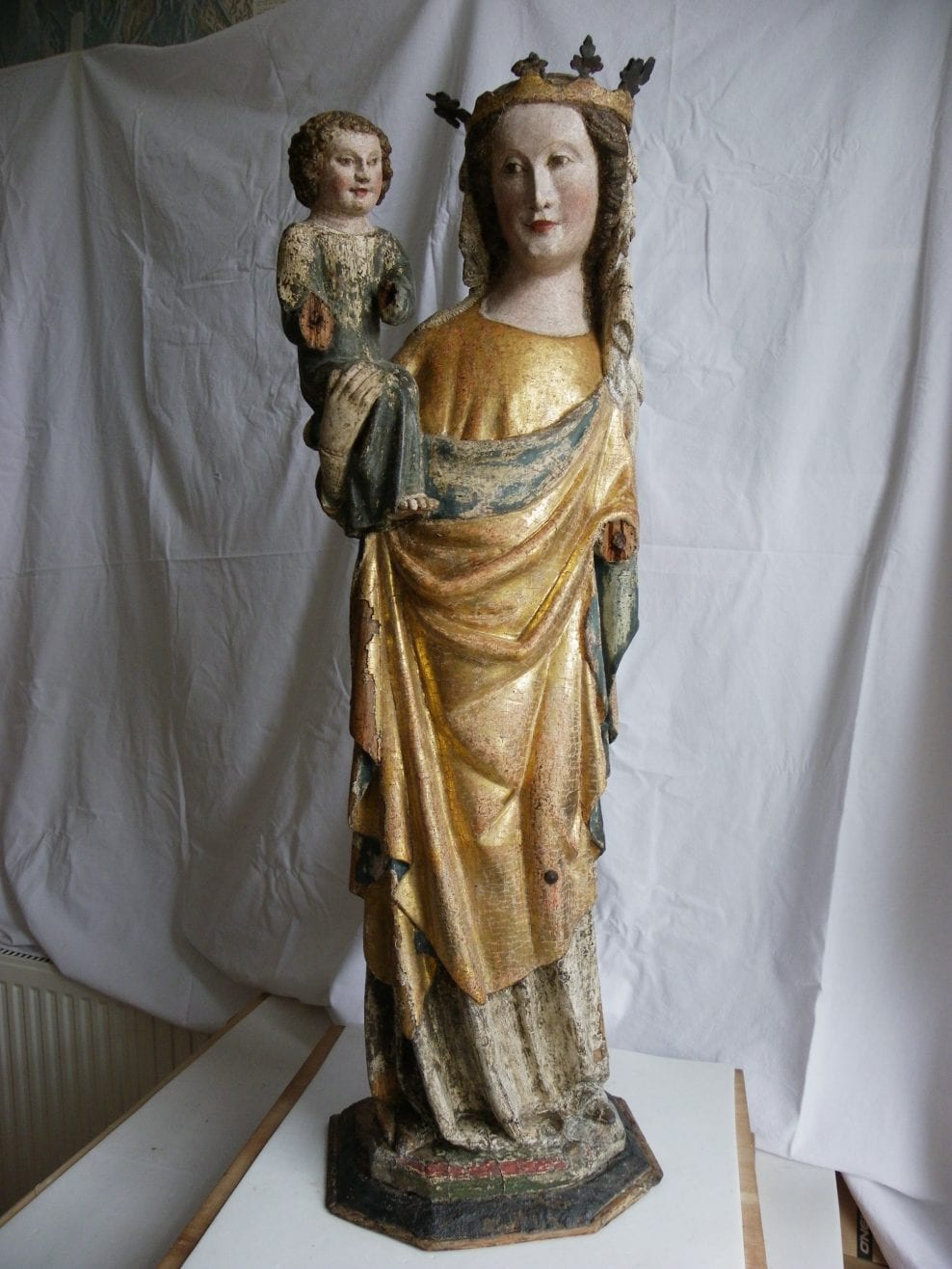 Madonna and Child, European, hardwood, polychrome and gilding, Lower Rhine, 1360-90, height 93 cm