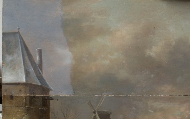 Painting, oil on oak panel, A Winter Landscape near a Town, by Klaes Molenaer