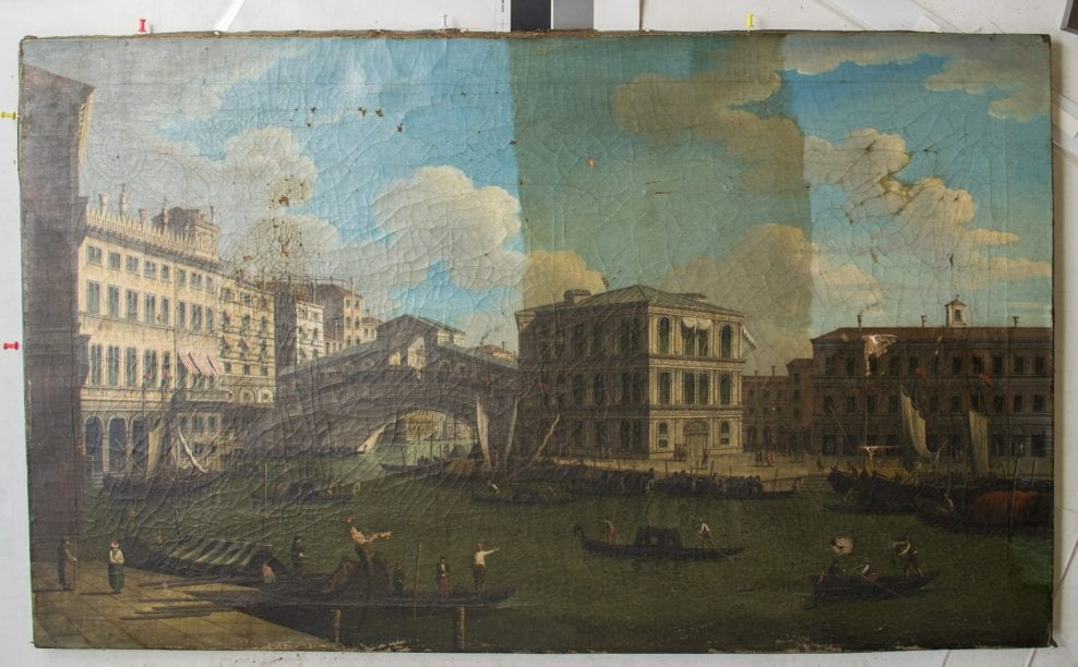 Painting, oil on canvas, style of Canaletto, A View of the Rialto Bridge