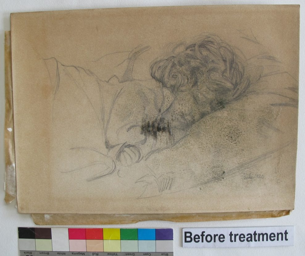 Conservation of a pencil drawing of a sleeping child