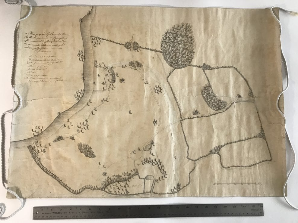 Lancelot 'Capability' Brown, original working plan for the client's existing Brown landscape. Private client.