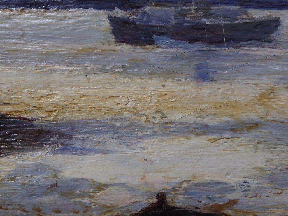 Detail, discoloured resin in paint texture