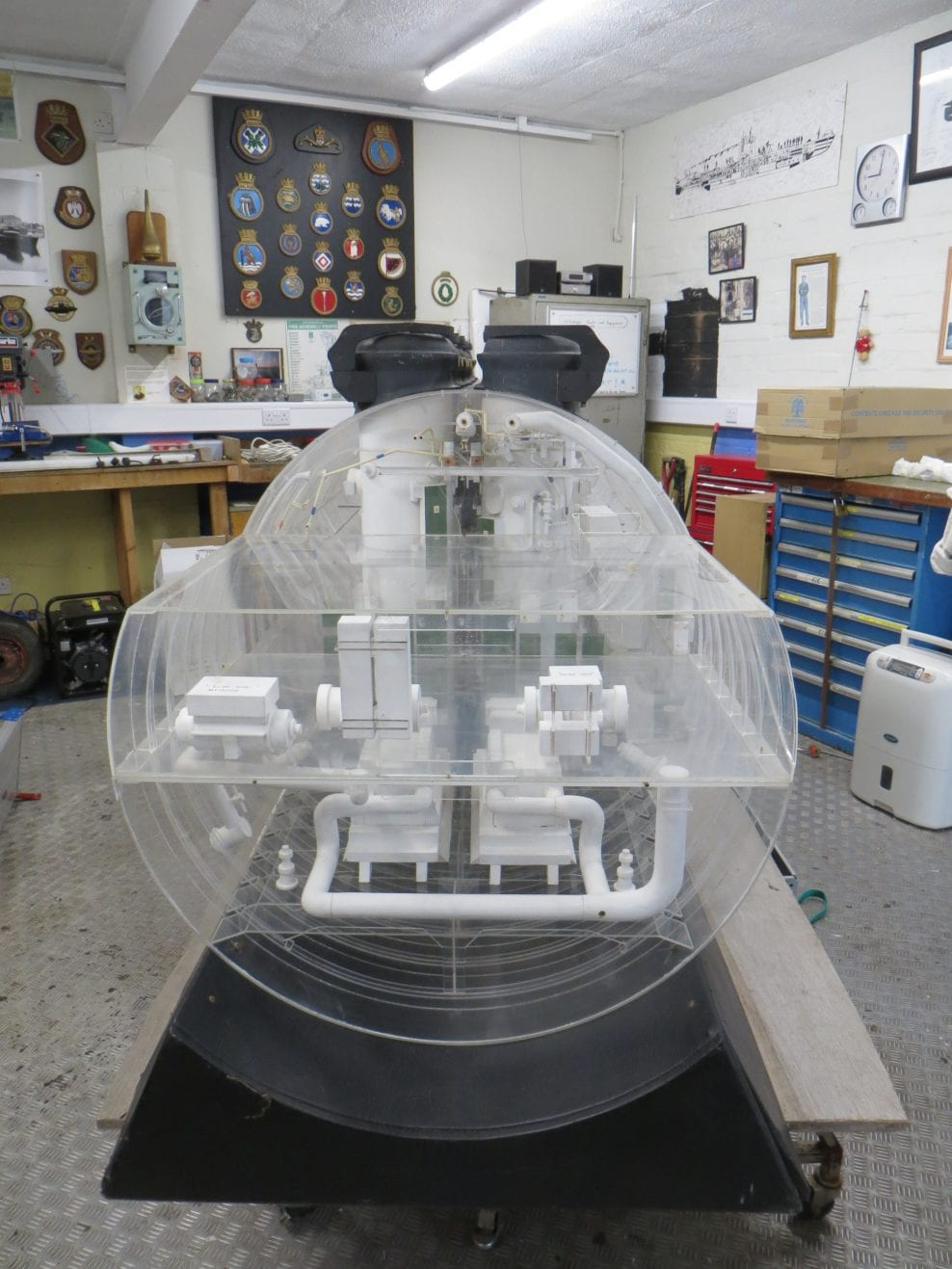 Conservation of model of submarine missile launcher, NMRN
