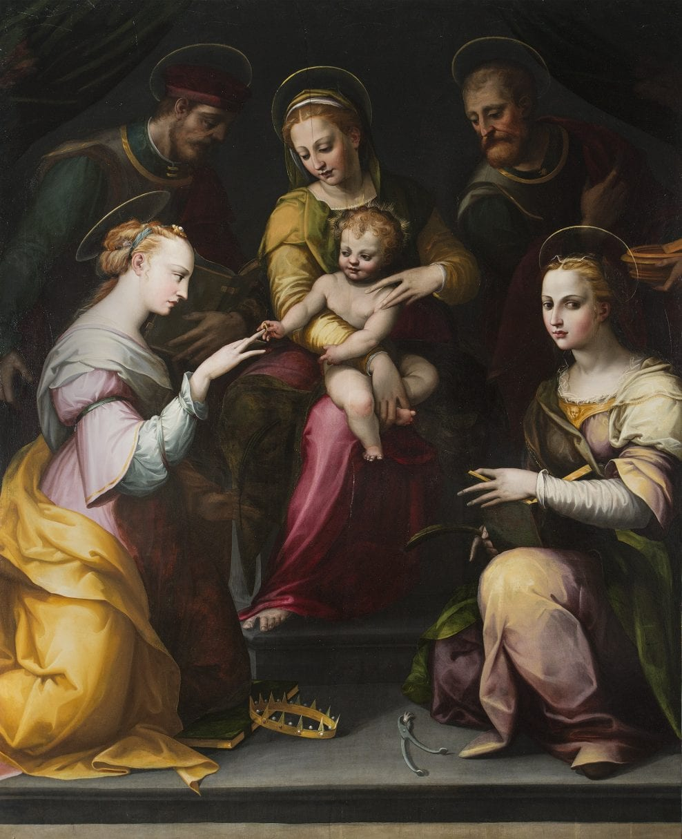 'The Mystic Marriage of St. Catherine with St. Apollonia, St. Joseph & St. John the Evangelist' att. to Francesco Brini (active 1540-1586)