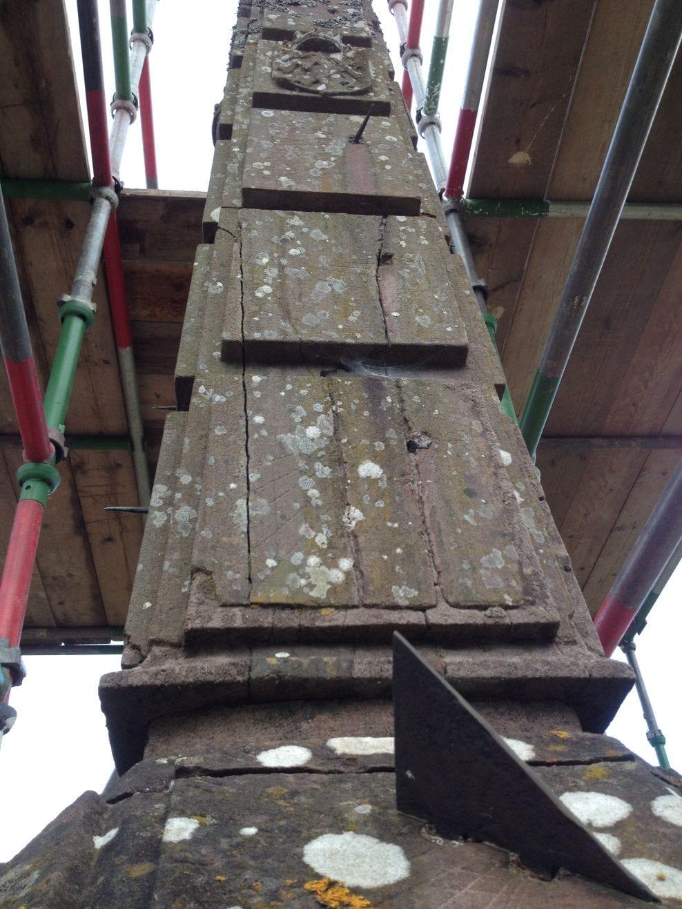 Drummond Castle Obelisk Sundial structural deterioration issues before dismantling in 2017