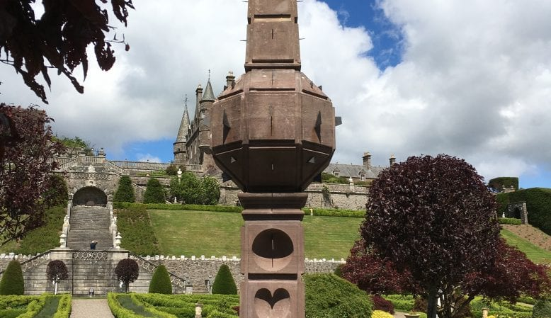 Final installation day of the conserved Drummond Castle Obelisk Sundial re-aligned with all new working gnomons summer solstice 2019O