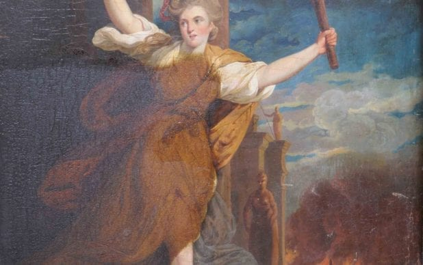 """Conservation of a copy of Joshua Reynolds """"Thaia"""", oil on panel"""