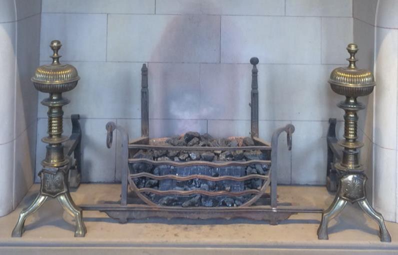 Iron fireplace and firedogs