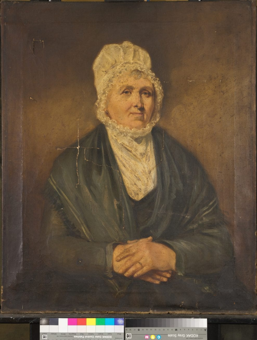 'The Dock Master's Wife' by unknown artist (c. 1870) from the Hull Maritime Musem. Oil on canvas. Conservation was carried out in 2019 and was funded by the National Lottery Heritage Fund as part of the 'Hull: Yorkshire's Maritime City' (HYMC) project