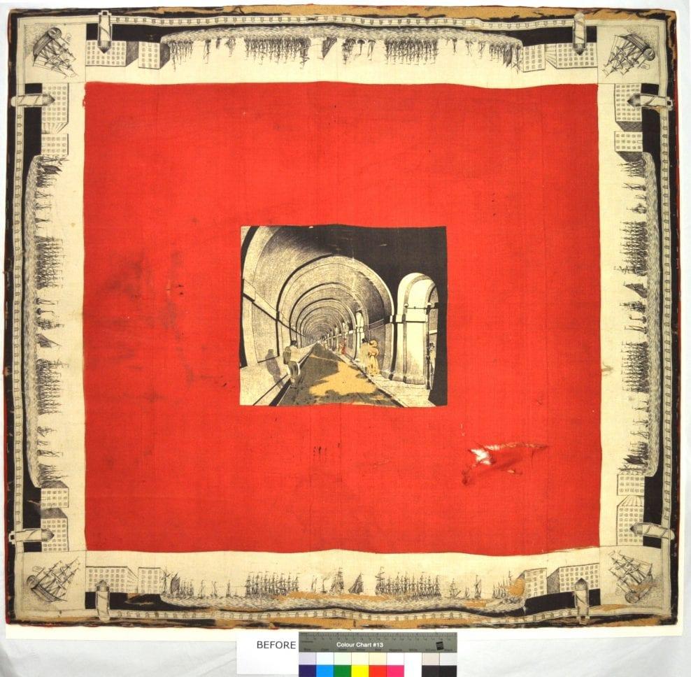 Brunel's Thames Tunnel commemorative printed silk kerchief