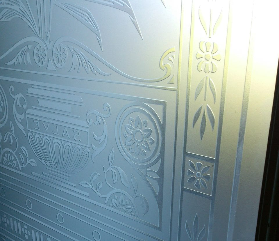 Large etched Victorian front door