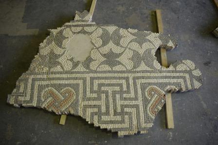 A section of mosaic after conservation