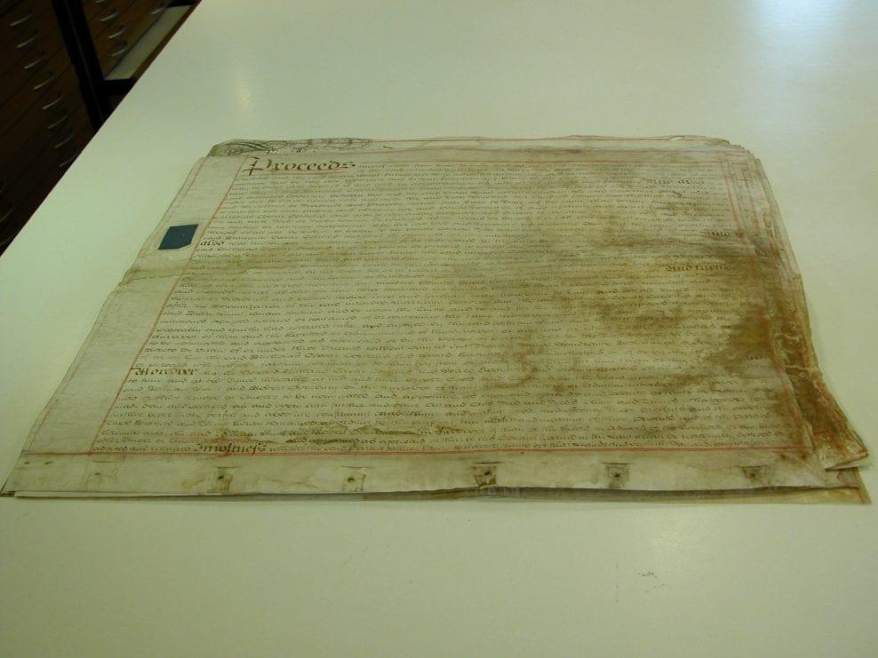 Parchment documents after conservation